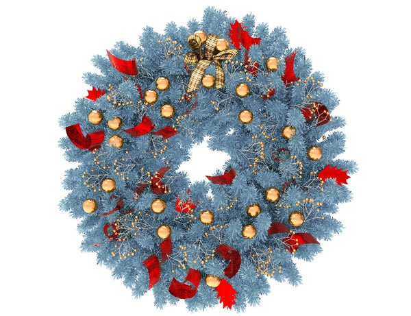 Blue Christmas wreath with gold globes and red ribbon