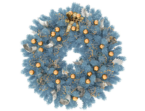 Blue Christmas wreath with gold globes and silver ribbon