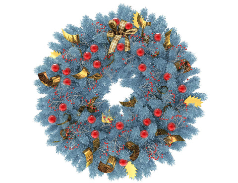 Blue Christmas wreath with red globes and gold ribbon