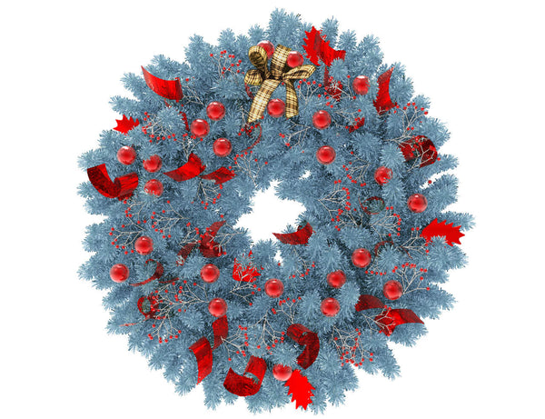 Blue Christmas wreath with red globes and red ribbon
