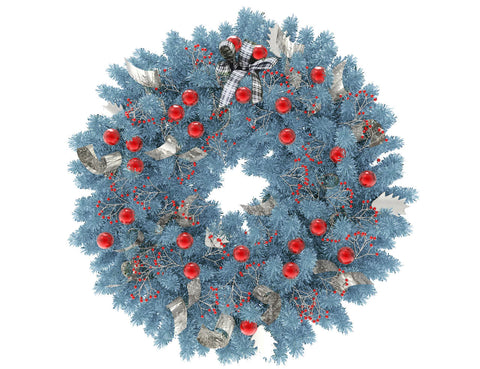Blue Christmas wreath with red globes and silver ribbon