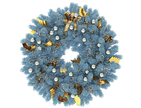 Blue Christmas wreath with silver globes and gold ribbon