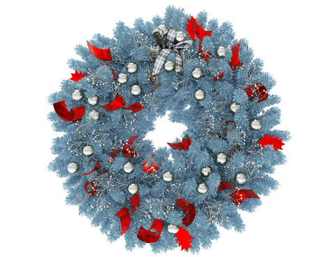 Blue Christmas wreath with silver globes and red ribbon