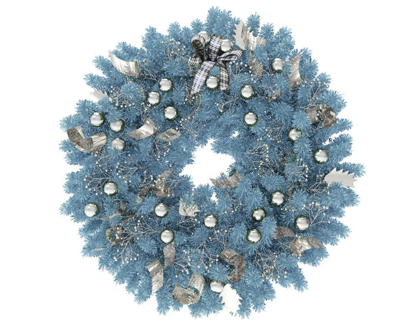 Blue Christmas wreath with silver globes and silver ribbon