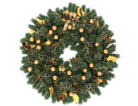 Green Christmas wreath with gold globes and gold ribbon