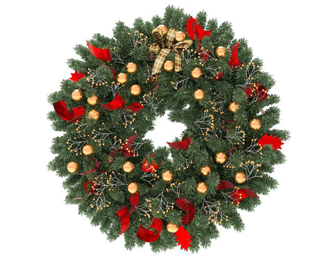 Green Christmas wreath with gold globes and red ribbon