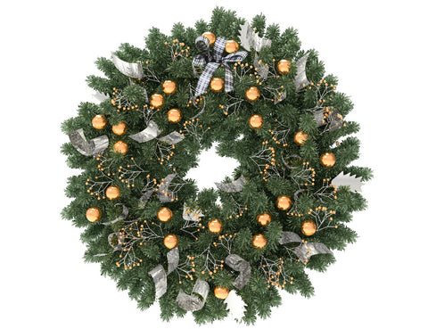 Green Christmas wreath with gold globes and silver ribbon