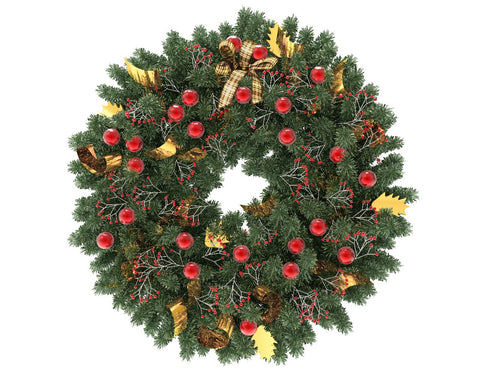 Green Christmas wreath with red globes and gold ribbon