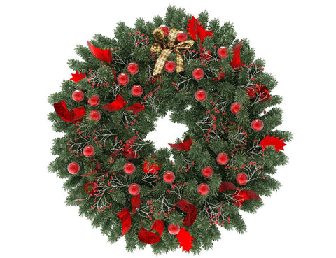 Green Christmas wreath with red globes and red ribbon