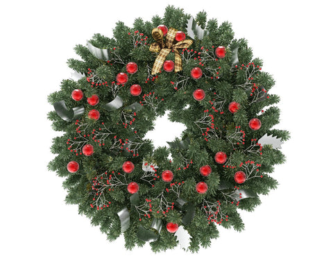 Green Christmas wreath with red globes and silver ribbon
