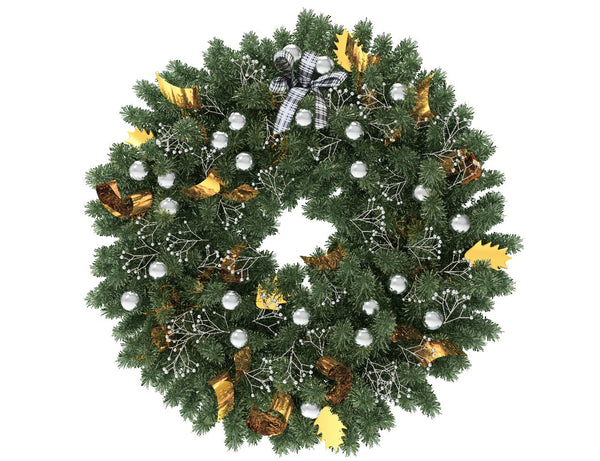 Green Christmas wreath with silver globes and gold ribbon