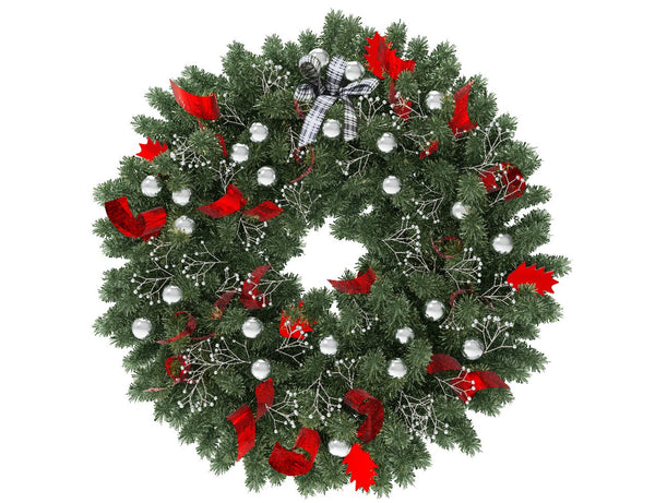Green Christmas wreath with silver globes and red ribbon