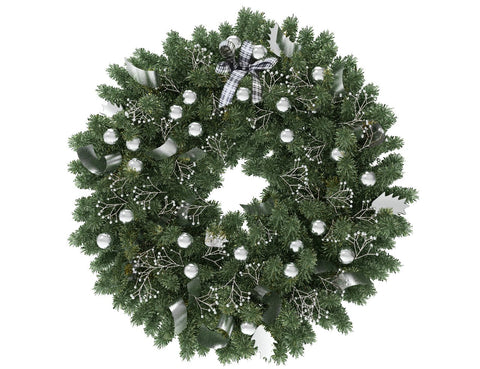 Green Christmas wreath with silver globes and silver ribbon