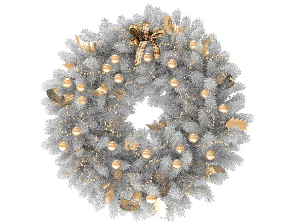 White Christmas wreath with gold globes and gold ribbon