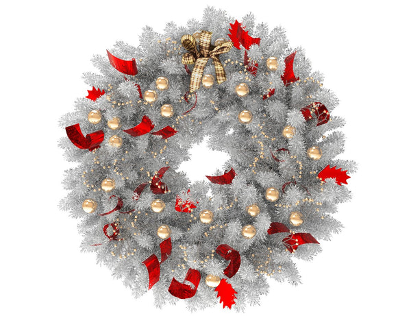 White Christmas wreath with gold globes and red ribbon