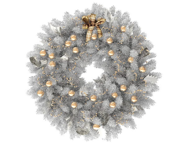 White Christmas wreath with gold globes and silver ribbon