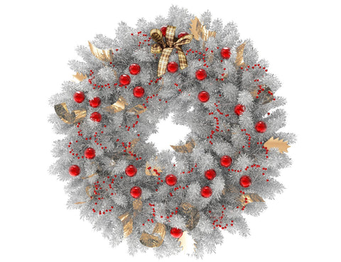 White Christmas wreath with red globes and gold ribbon