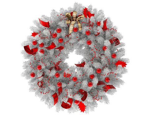 White Christmas wreath with red globes and red ribbon