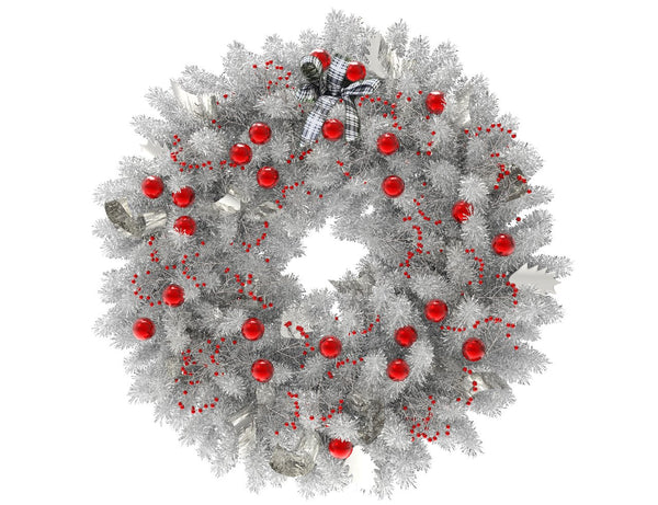 White Christmas wreath with red globes and silver ribbon