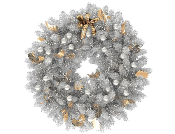 White Christmas wreath with silver globes and gold ribbon