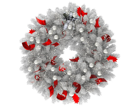 White Christmas wreath with silver globes and red ribbon