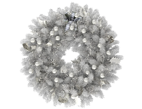 White Christmas wreath with silver globes and silver ribbon