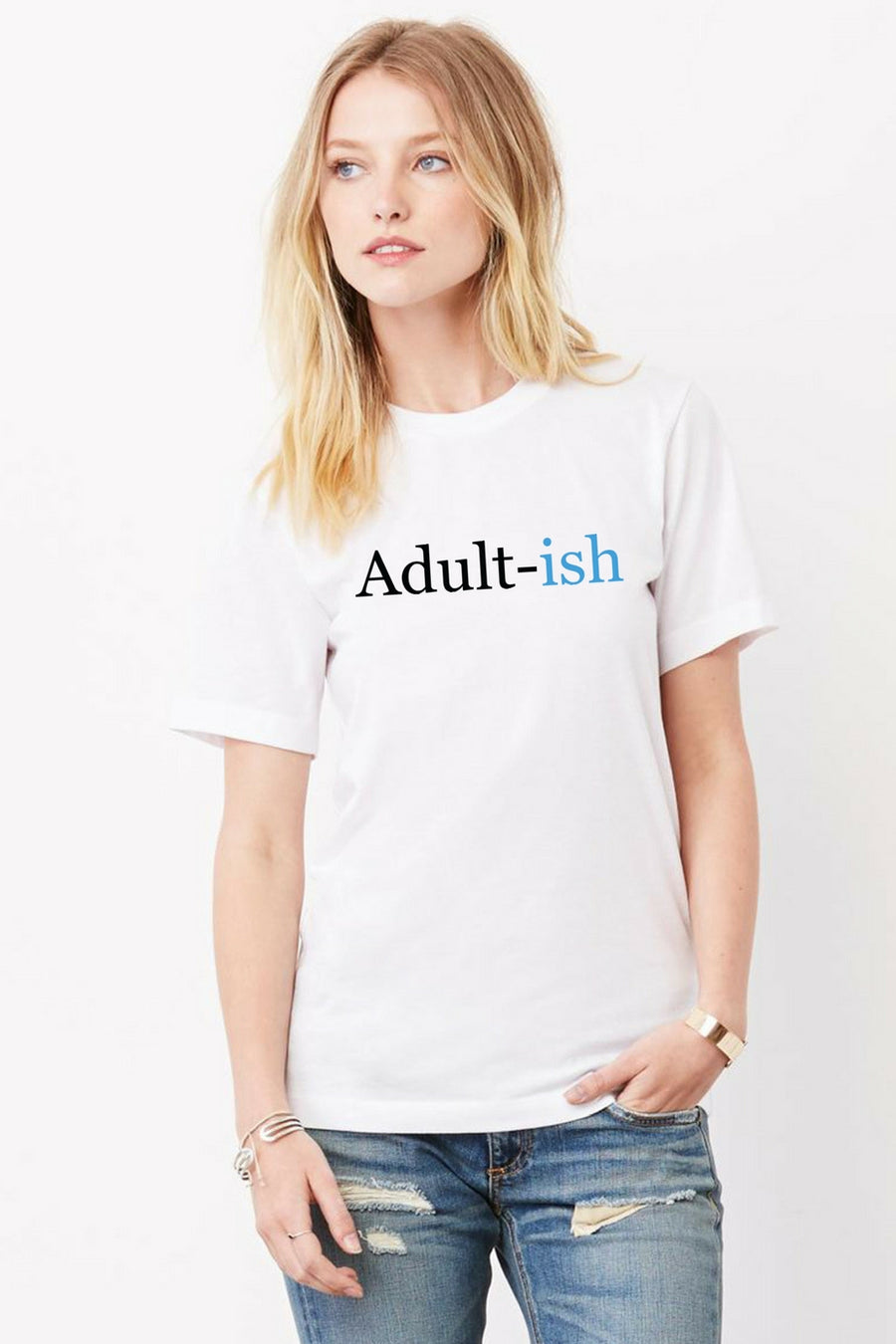 Six + Row Adultish White Tee