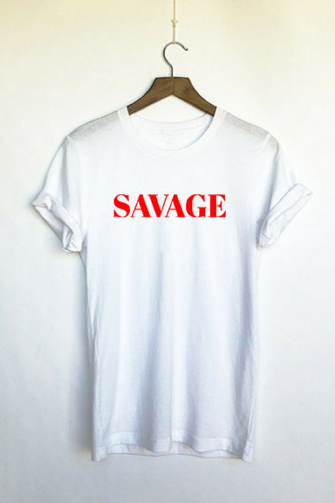 Six + Row Savage Slogan White Tee (2)