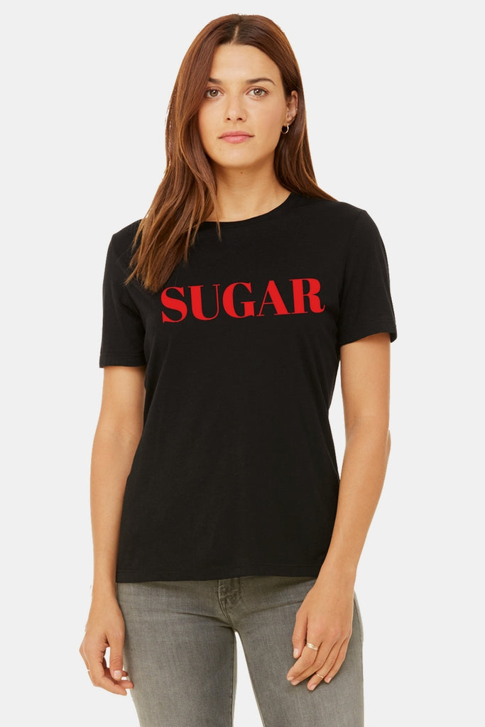 Six + Row Sugar Slogan Black Tee