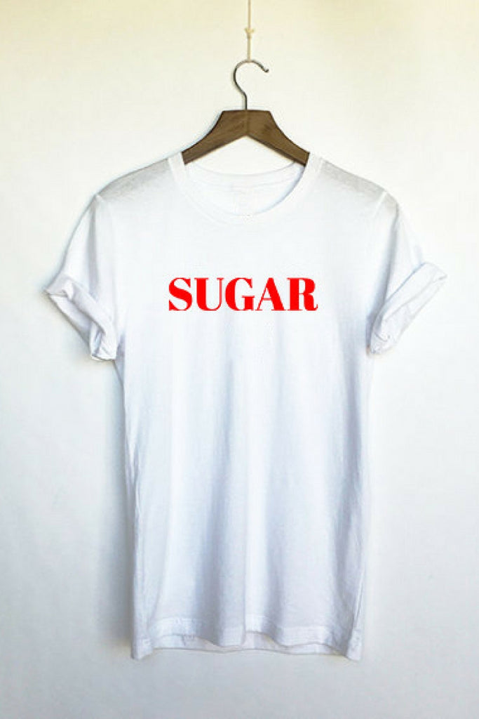 Six + Row Sugar Slogan White Tee (2)