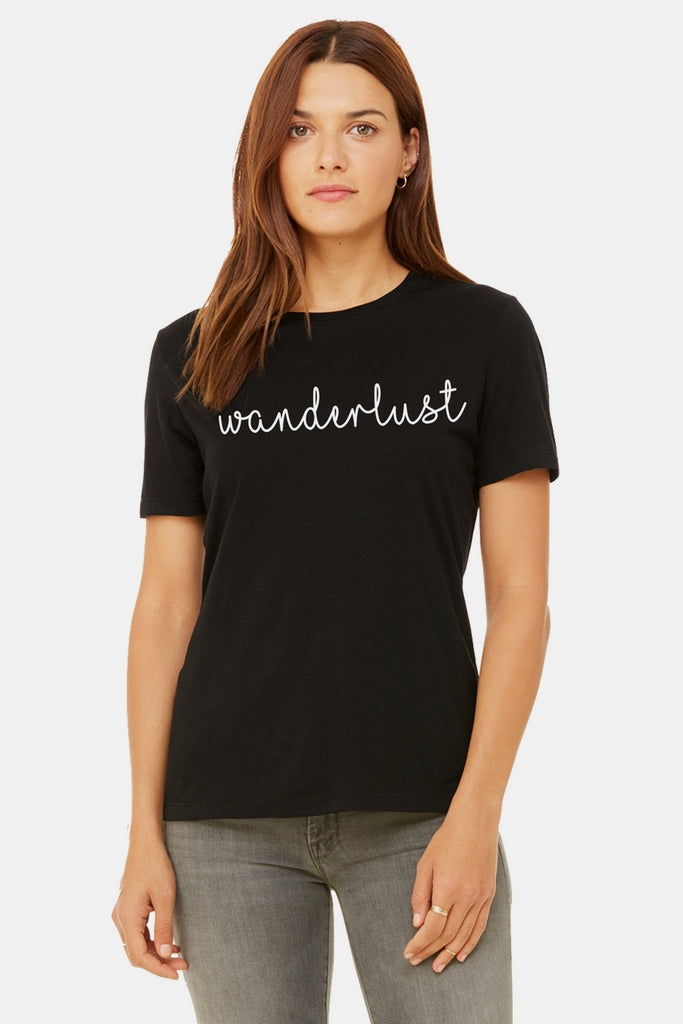Six + Row Wanderlust Graphic Black Tee
