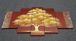 Painting Samples of Tree of Life Painting, 5 Panel Canvas Painting