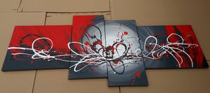 Painting Samples of 4 Panel Abstract Art, Black and Red Wall Art