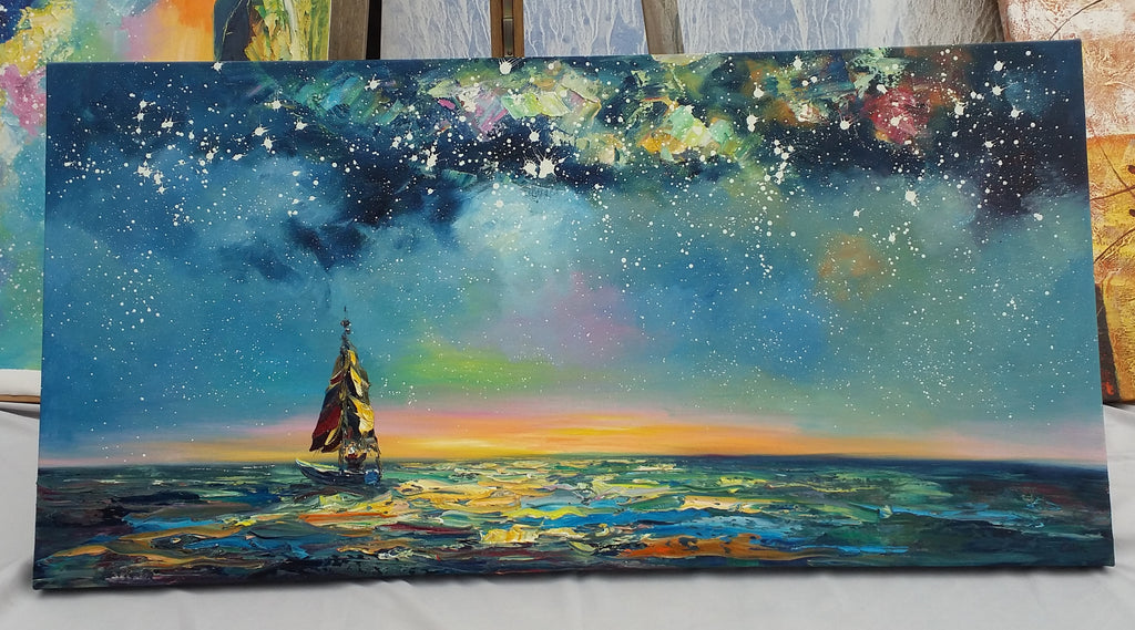 Painting Samples of Sail Boat under Starry Night Sky Painting
