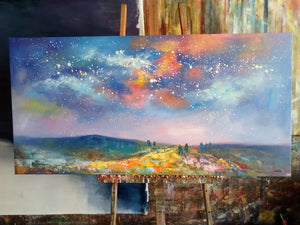 Starry Night Sky Painting, Oil Painting on Canvas, Canvas Painting, Original Artwork