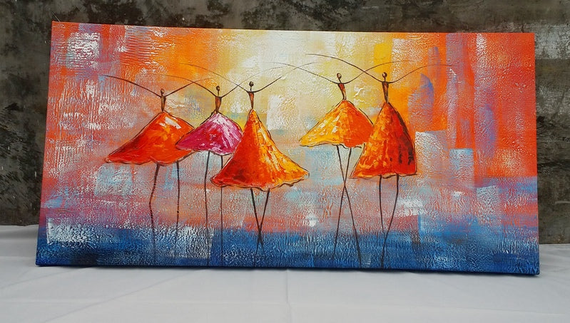 Ballet Dancers Painting for Wall Decor, Heavy Texture Hand Painted Art