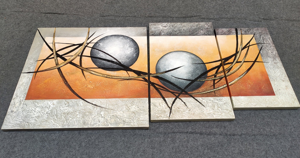 Painting Samples of 3 Piece Canvas Painting, Hand Painted Wall Art, Buy Art Online
