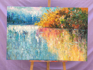 Buyer's Reviews on the Forest Tree by the Lake Painting, Original Oil Painting on Canvas