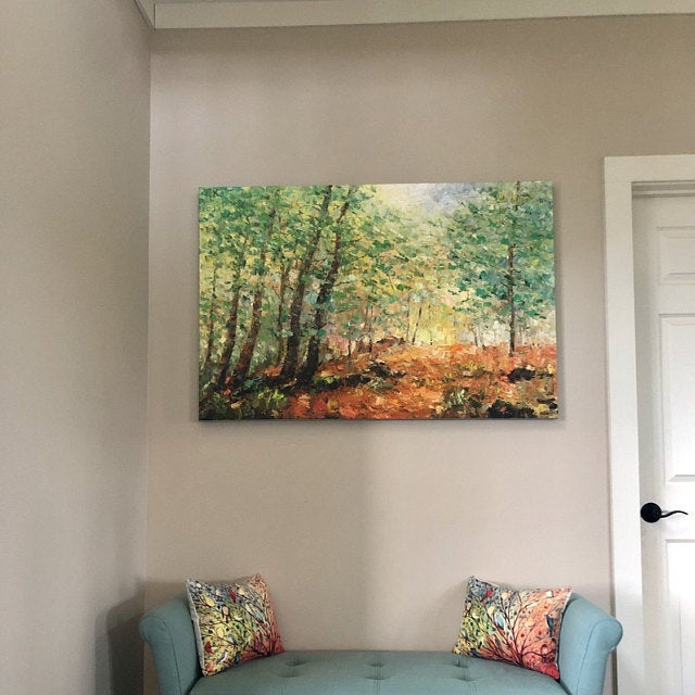 Buyer's Reviews on the Forest Tree Painting, Heavy Texture Art, Hand Painted Canvas Art, Original Paintings