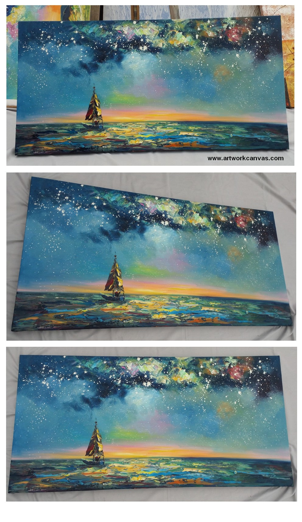 Starry Night Sky Painting, Landscape Oil Painting, Heavy Texture Painting