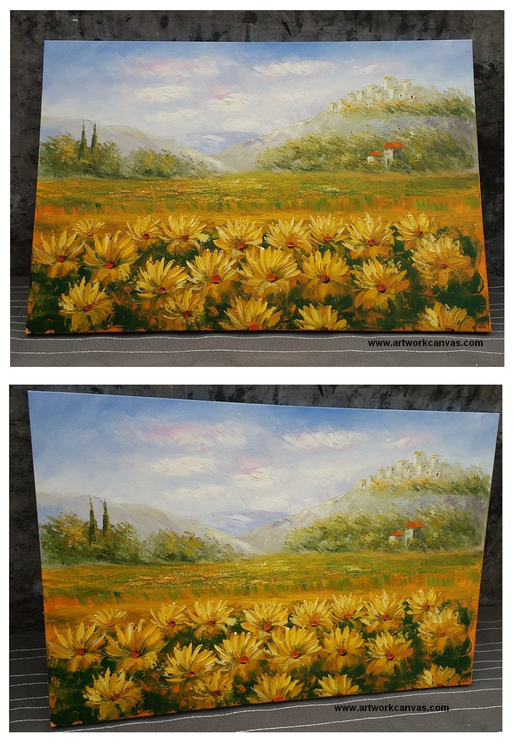 Landscape Art, Sunflower Artwork, Large Canvas Painting