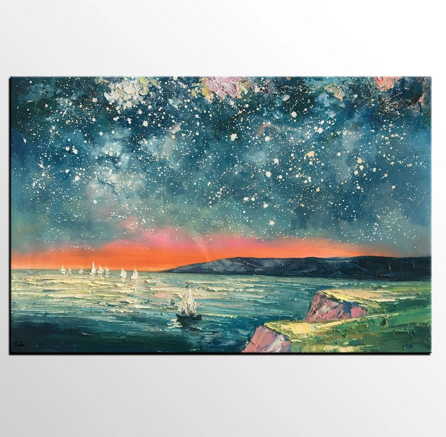 Heavy Texture Painting, Landscape Oil Painting, Starry Night Sky Painting, Custom Large Canvas Painting