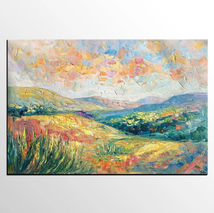 Autumn Mountain Landscape Painting, Custom Abstract Painting