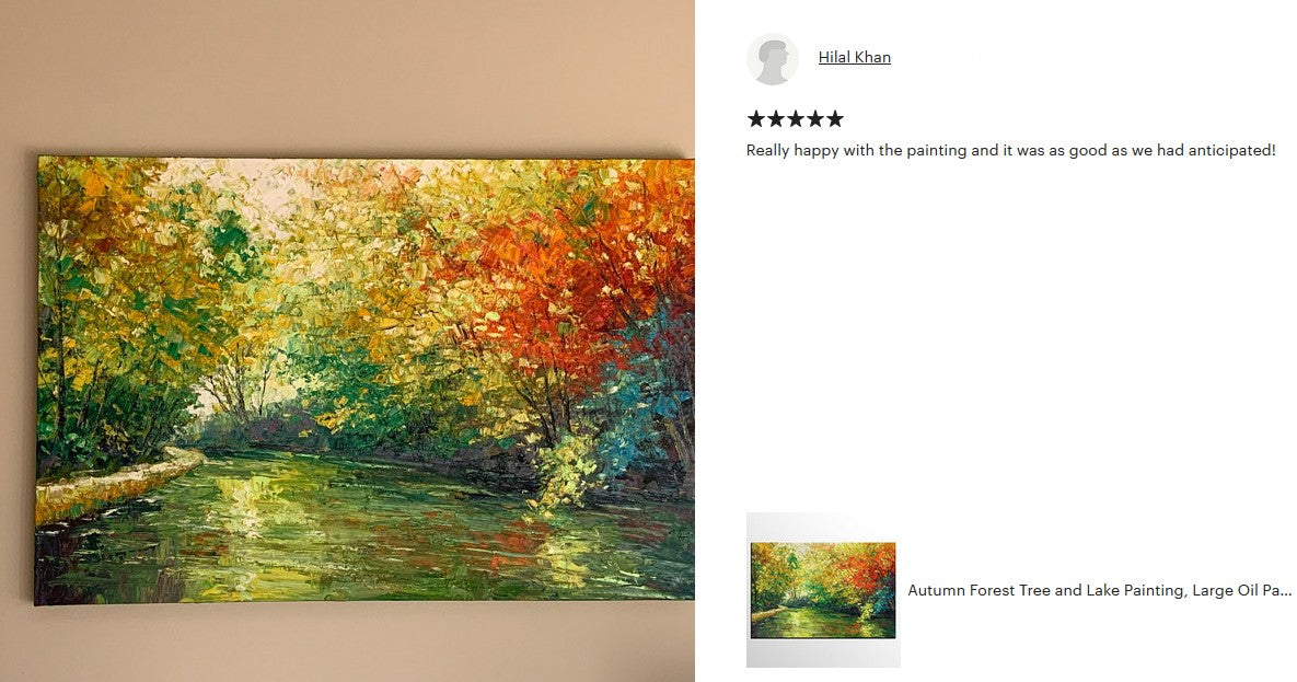 Autumn Forest Tree and Lake Painting, Buy Paintings Online, Landscape Painting, Large Canvas Painting, Original Painting