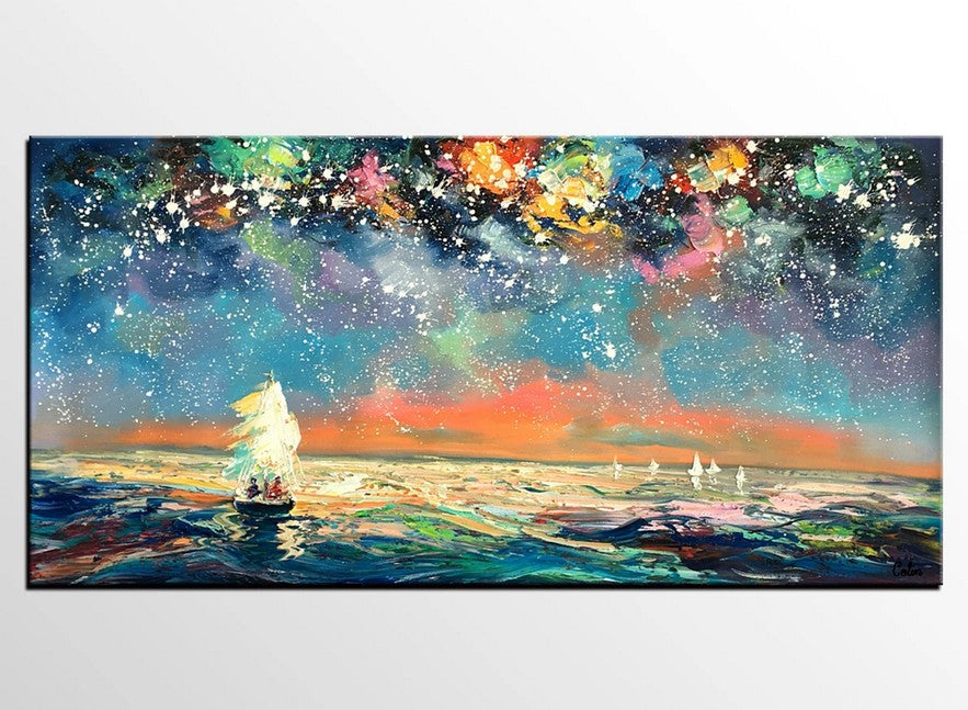 Starry Night Sky Painting, Impasto Artwork, Original Canvas Painting, Hand Painted Canvas Painting, Buy Art Online