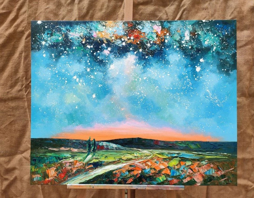 Original Oil Painting, Night Sky Paintings, Landscape Painting, Hand Painted Oil Painting, Texture Artwork