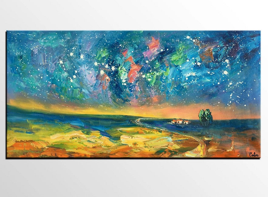 Starry Night Sky Oil Painting, Night Sky Paintings, Modern Landscape Paintings, Original Canvas Art, Extra Large Painting