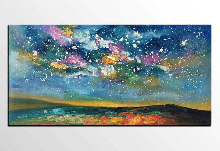 Night Sky Paintings, Modern Paintings, Extra Large Canvas Painting, Starry Night Sky Oil Painting, Landscape Painting