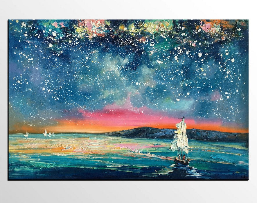 Sail Boat under Starry Night Sky Painting, Art on Canvas, Landscape Paintings, Original Oil Painting