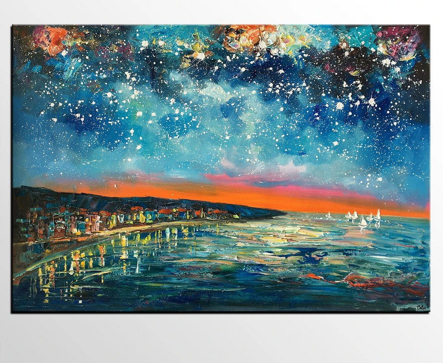 Night Sky Paintings, Sail Boat under Starry Night Sky, Oil Painting Landscape, Heavy Texture Paintings, Extra Large Canvas Painting